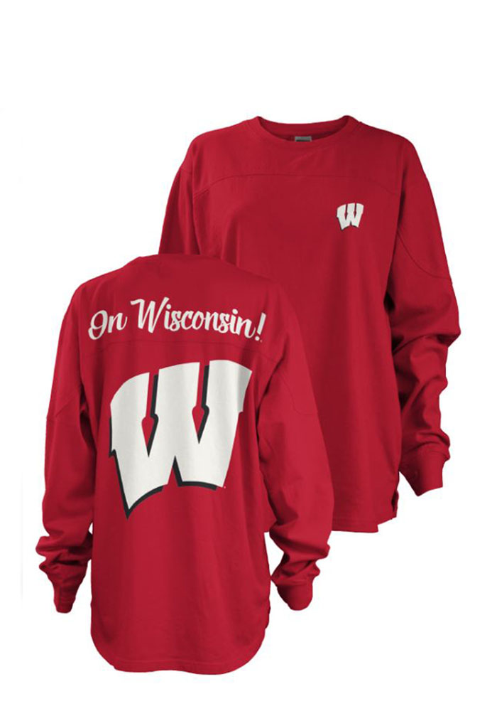 Wisconsin Badgers Womens Red Fight Song LS Tee - Image 1