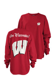 Wisconsin Badgers Womens Red Fight Song LS Tee