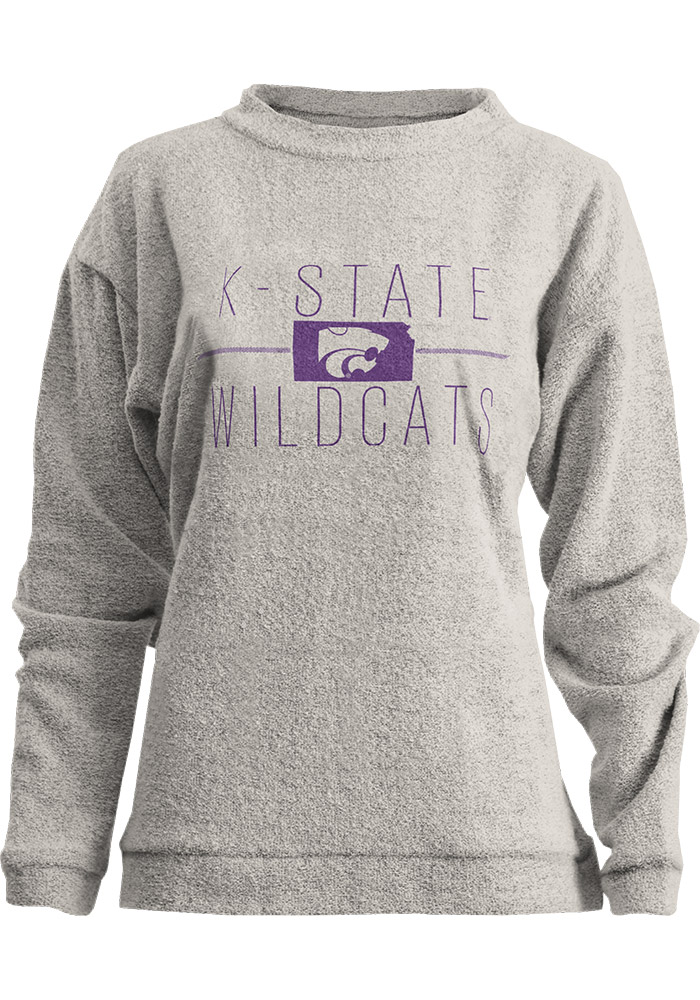 K-State Wildcats Womens Oatmeal Comfy Terry Crew Sweatshirt - Image 1