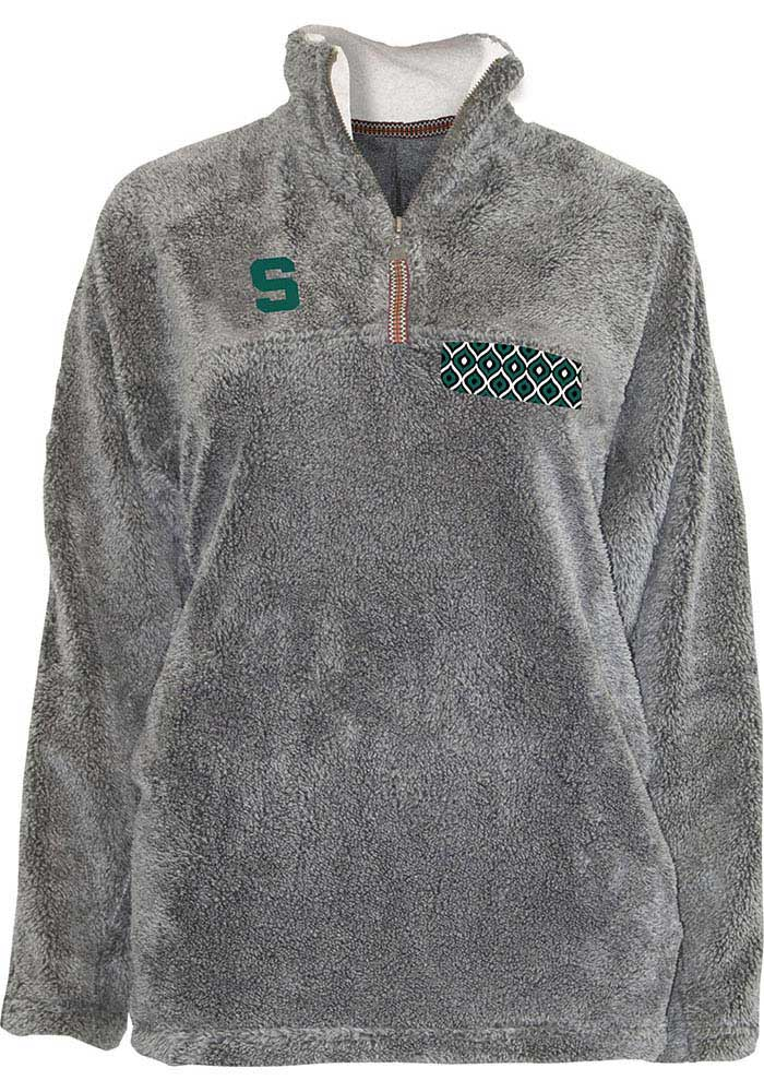 Michigan State Spartans Womens Grey Shaggy 1/4 Zip Pullover - Image 1