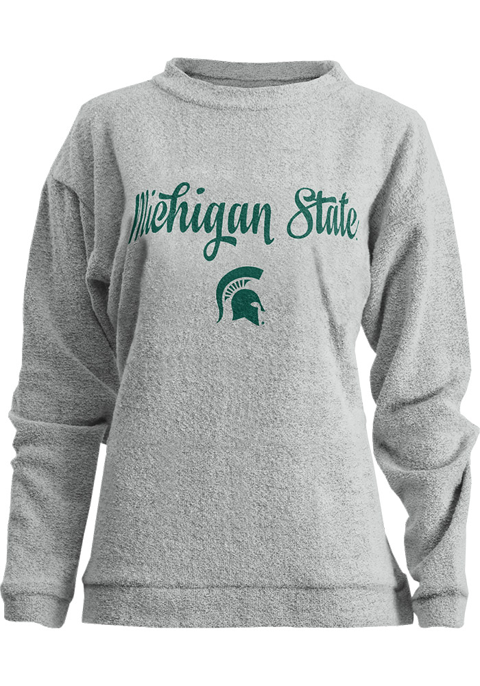 Michigan State Spartans Womens Oatmeal Comfy Terry Crew Sweatshirt - Image 1