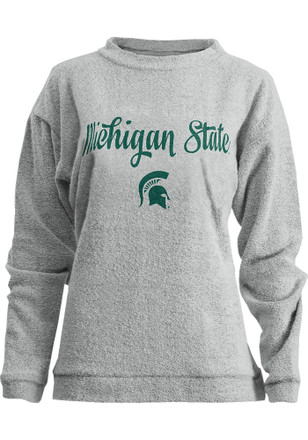 Michigan State Spartans Womens Comfy Terry Oatmeal Crew Sweatshirt