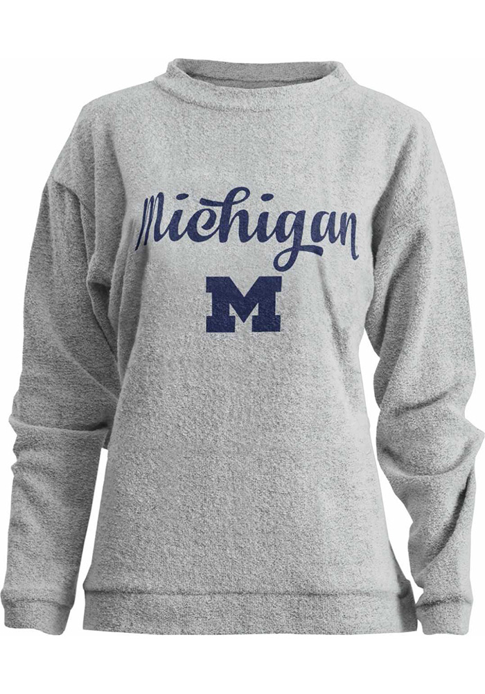 Michigan Wolverines Womens Oatmeal Comfy Terry Crew Sweatshirt - Image 1
