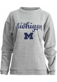 Michigan Wolverines Womens Comfy Terry Oatmeal Crew Sweatshirt