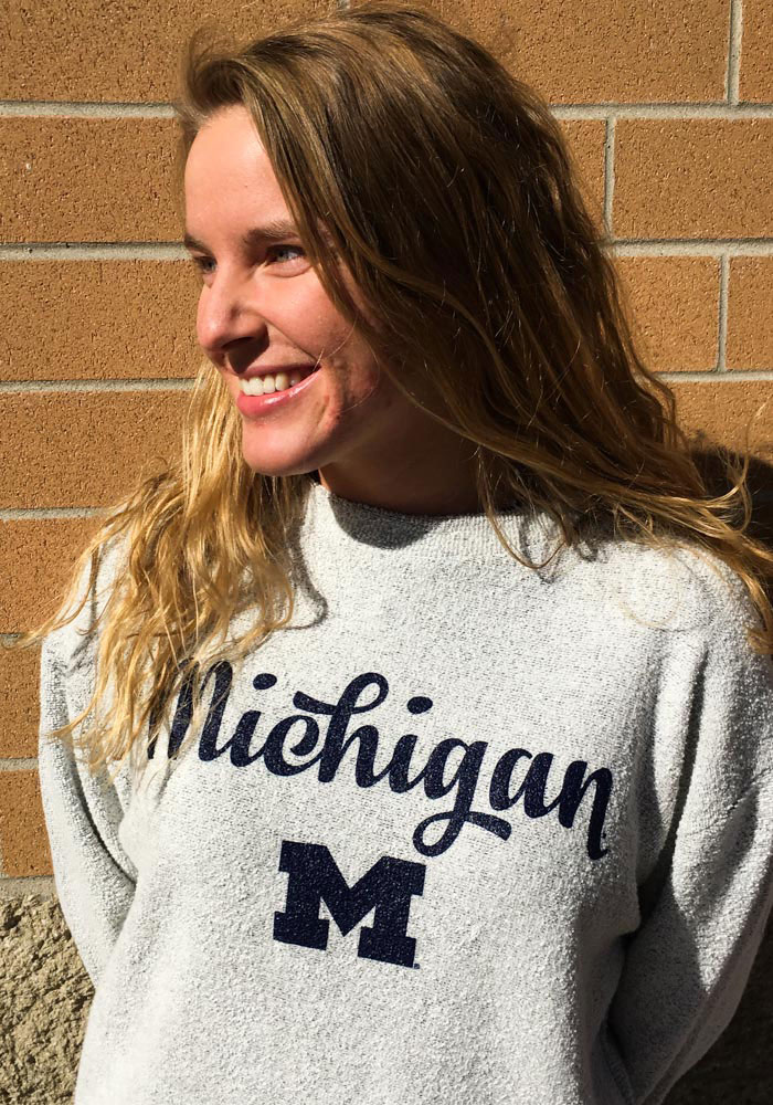 Michigan Wolverines Womens Oatmeal Comfy Terry Crew Sweatshirt - Image 2