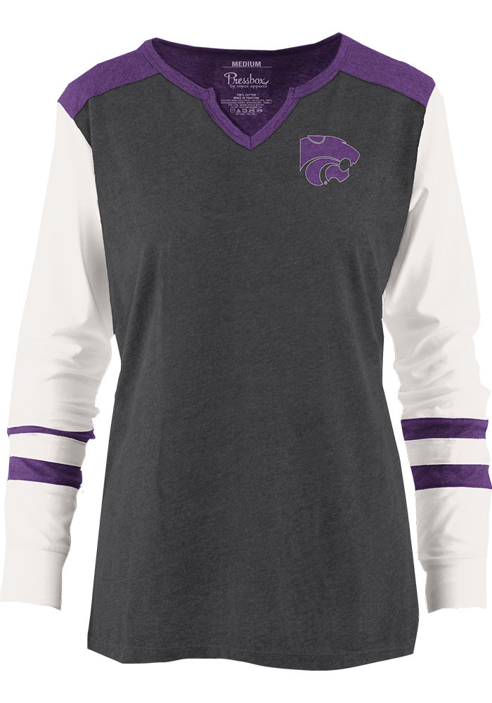 K-State Wildcats Womens Grey Mia Long Sleeve T-Shirt - Image 1