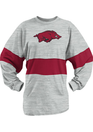 Arkansas Razorbacks Womens Morehead Oatmeal LS Tee
