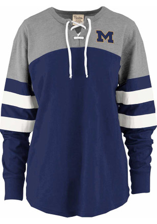 Michigan Wolverines Womens Power Play Navy Blue LS Tee