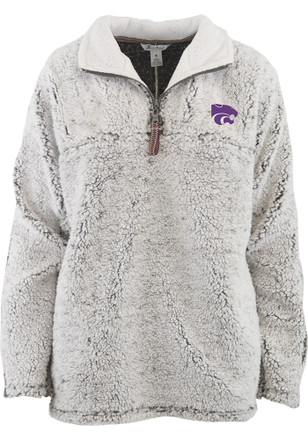 K-State Wildcats Womens Puddle Grey 1/4 Zip Pullover