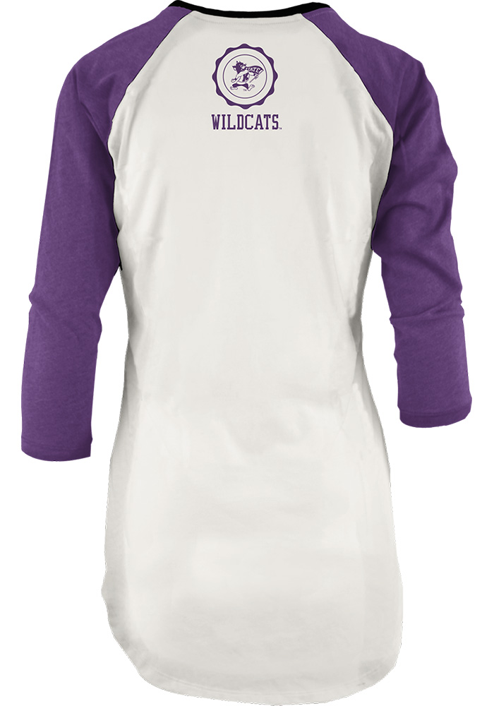K-State Wildcats Womens Purple Quin Long Sleeve Crew T-Shirt - Image 2
