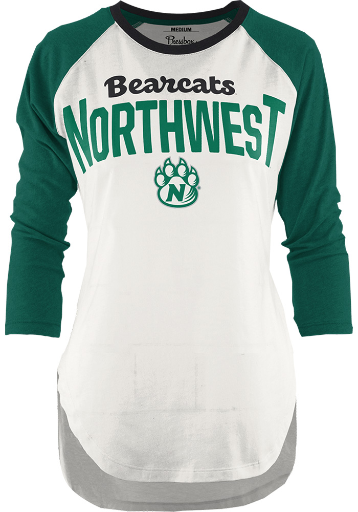 Northwest Missouri State Bearcats Womens Green Quin Long Sleeve Crew T-Shirt - Image 1