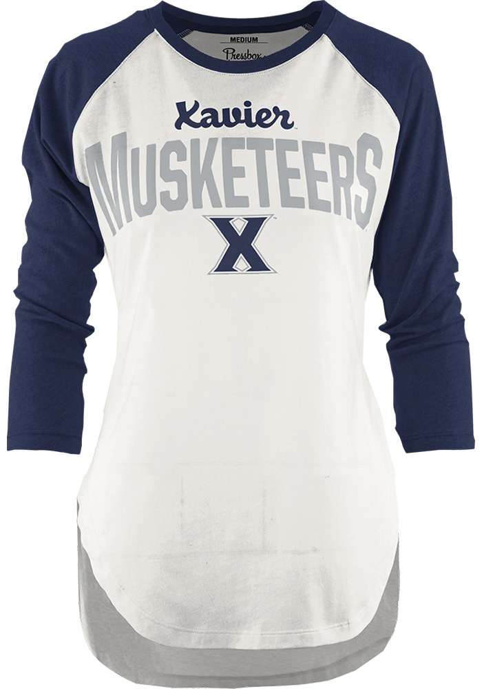 Xavier Musketeers Womens Navy Blue Quin Long Sleeve Crew T-Shirt - Image 1
