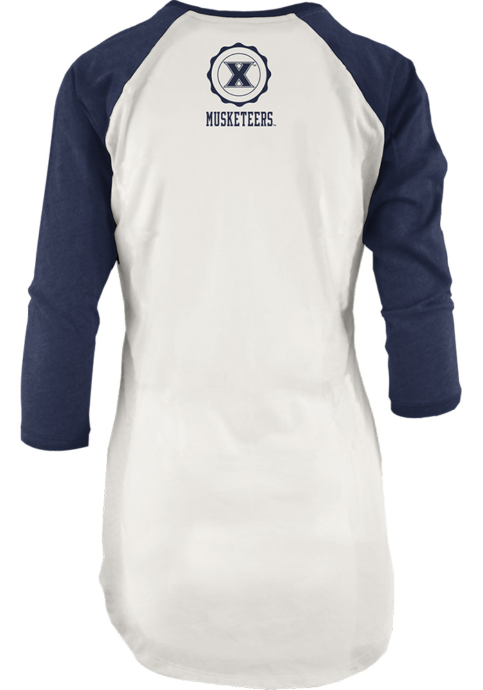 Xavier Musketeers Womens Navy Blue Quin Long Sleeve Crew T-Shirt - Image 2