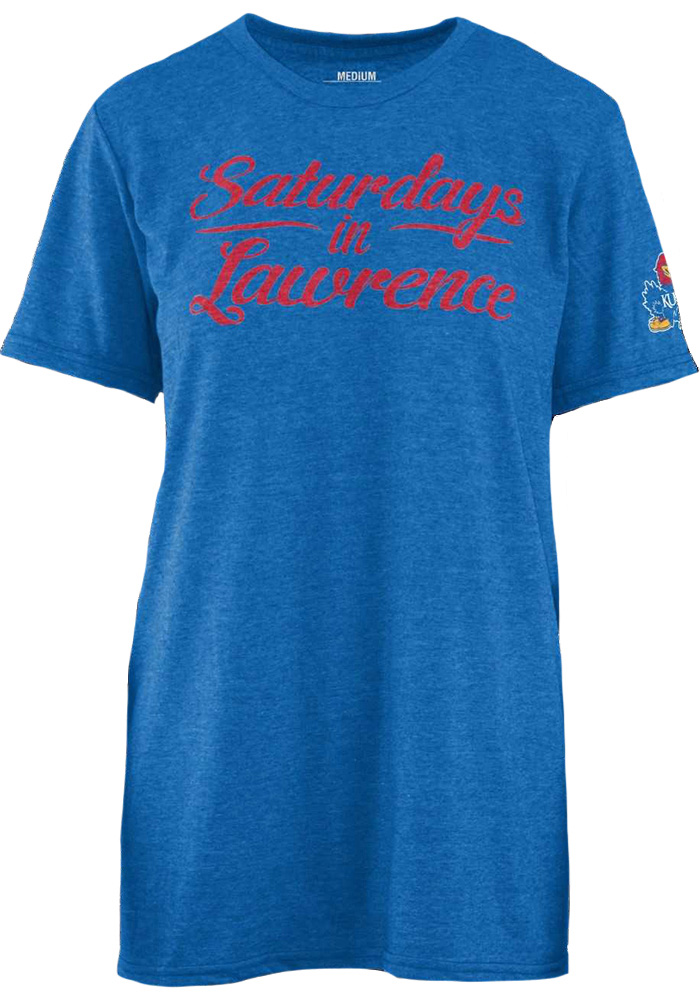 Kansas Jayhawks Womens Blue Saturday Short Sleeve T-Shirt - Image 1