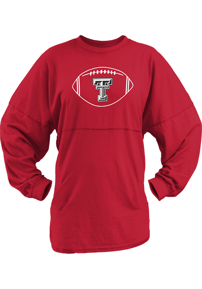 Texas Tech Red Raiders Womens Red Vintage Banner LS Tee - Image 1