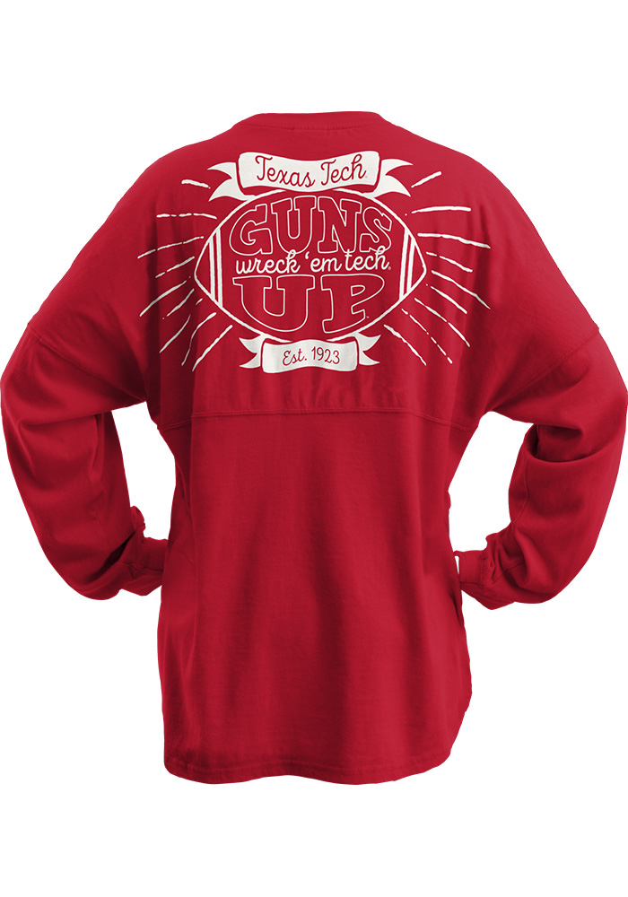 Texas Tech Red Raiders Womens Red Vintage Banner LS Tee - Image 2