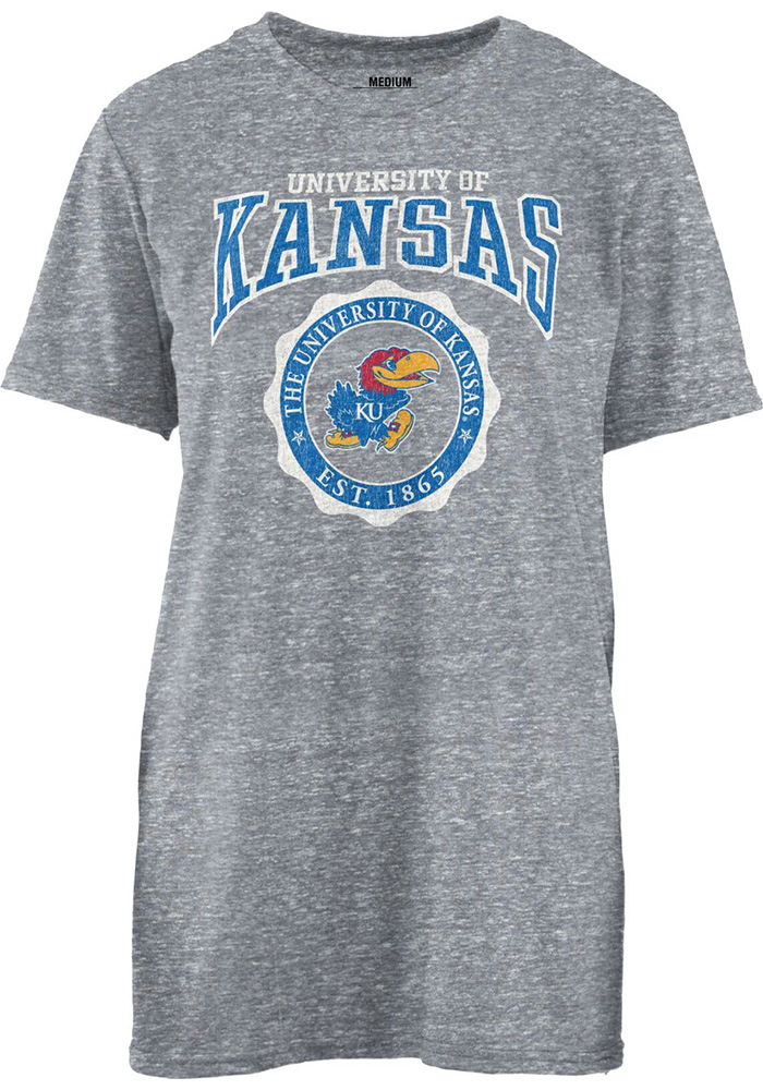 Kansas Jayhawks Womens Grey Knobi Archie Seal T-Shirt