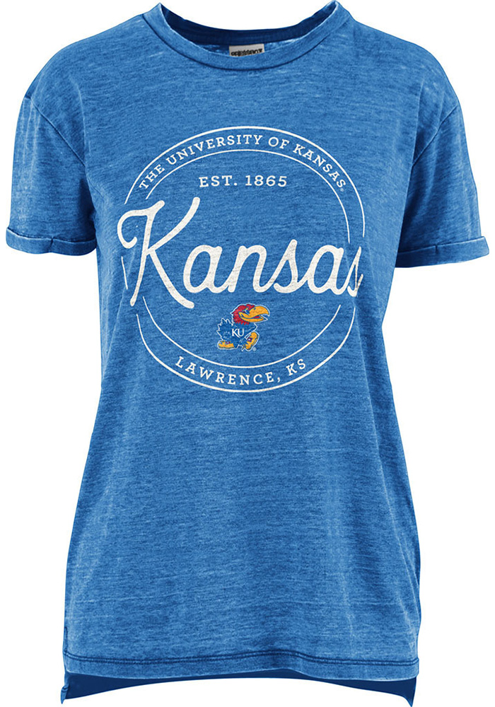 Kansas Jayhawks Womens Blue Ella Seal Short Sleeve Crew T-Shirt - Image 1