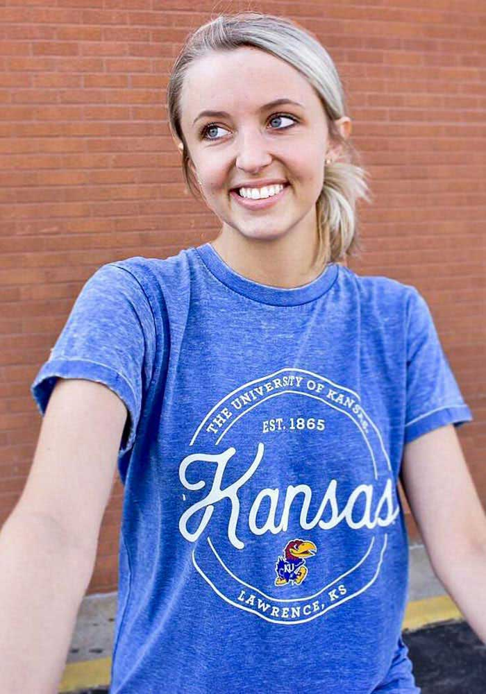 Kansas Jayhawks Womens Blue Ella Seal Short Sleeve Crew T-Shirt - Image 2