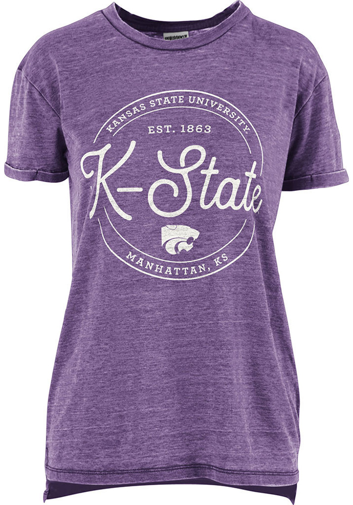 K-State Wildcats Womens Purple Ella Seal Short Sleeve Crew T-Shirt - Image 1