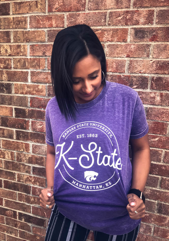 K-State Wildcats Womens Purple Ella Seal Short Sleeve Crew T-Shirt - Image 2