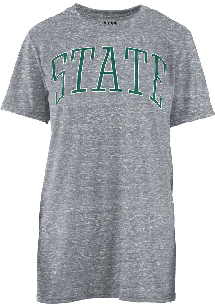 Michigan State Spartans Womens Grey Bell Lap Short Sleeve Crew T-Shirt - Image 1