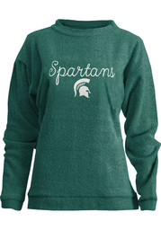 Michigan State Spartans Womens Bordeaux Comfy Terry Green Crew Sweatshirt