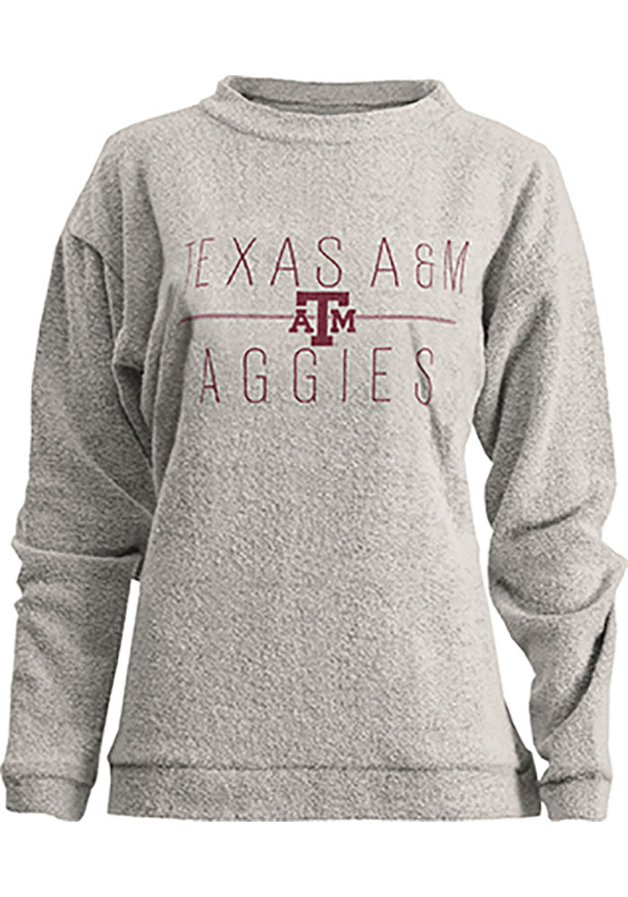 Texas A&M Aggies Womens Oatmeal Comfy Terry Crew Sweatshirt - Image 1