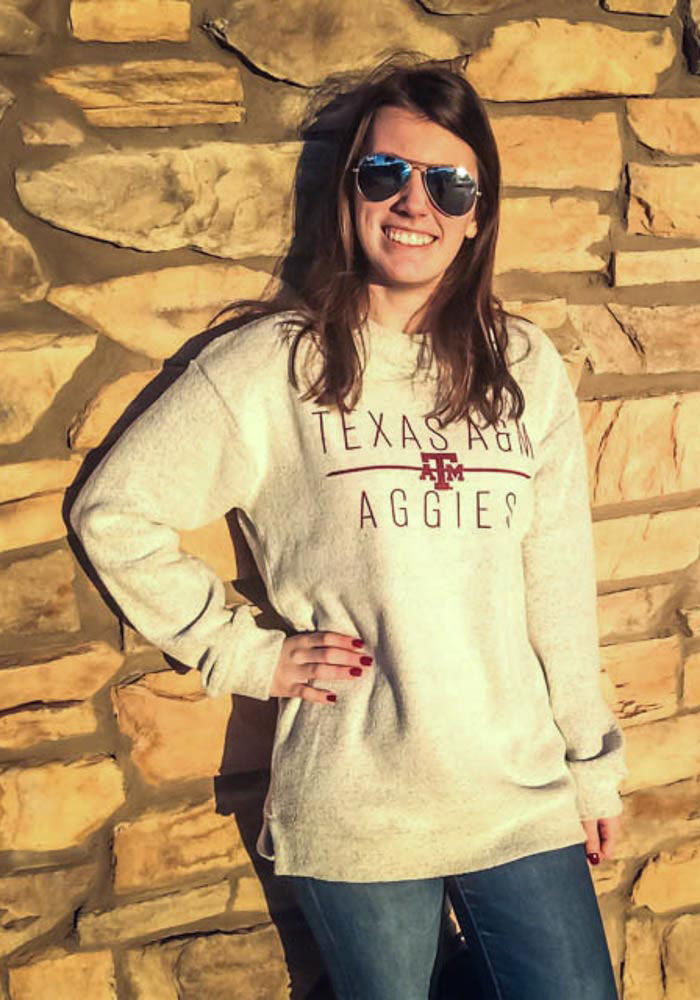 Texas A&M Aggies Womens Oatmeal Comfy Terry Crew Sweatshirt - Image 2