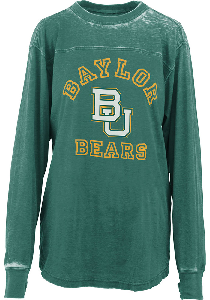Baylor Bears Womens Green Vintage Piston Crew Neck LS Tee - Image 1