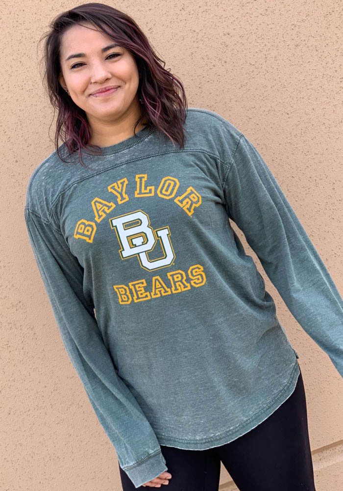 Baylor Bears Womens Green Vintage Piston Crew Neck LS Tee - Image 2