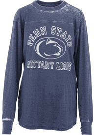 Penn State Nittany Lions Womens Vintage Piston Crew Neck Navy Blue LS Tee