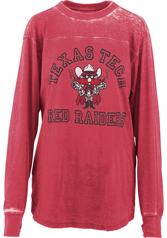Texas Tech Red Raiders Womens Red Vintage Piston Crew Neck LS Tee - Image 1