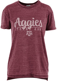 new product 63c42 3e108 Texas A&M Aggies Womens Maroon Cherie Vintage BF Crew Neck T-Shirt