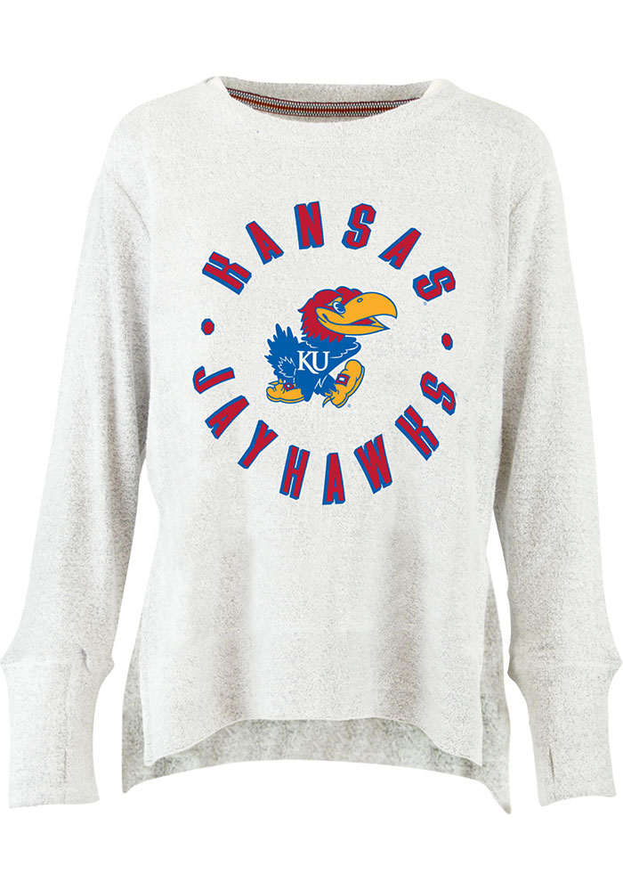 Kansas Jayhawks Womens Ivory Cavanaugh Cuddle Knit Crew Sweatshirt - Image 1