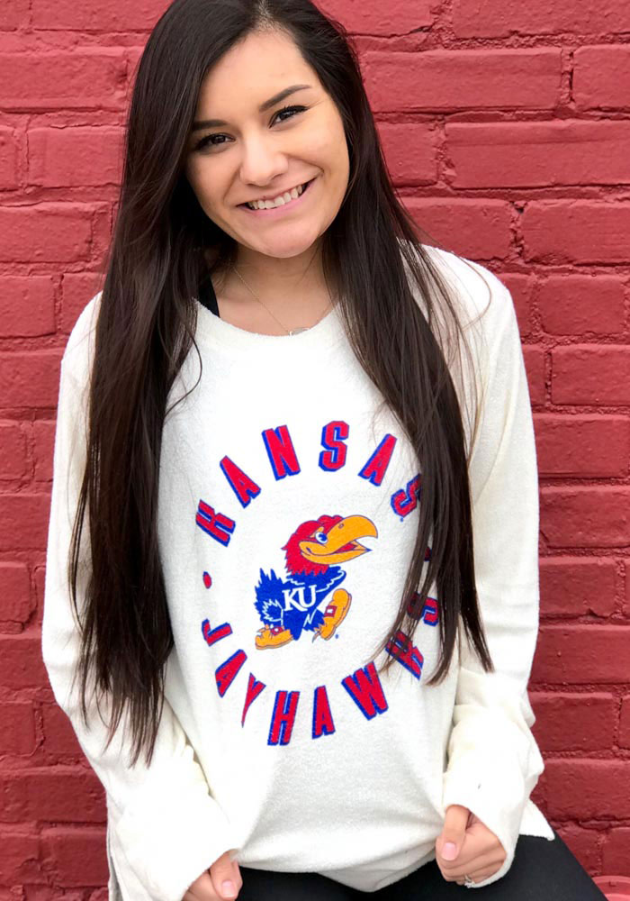 Kansas Jayhawks Womens Ivory Cavanaugh Cuddle Knit Crew Sweatshirt - Image 2