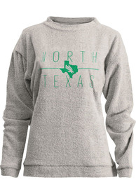 North Texas Mean Green Womens Comfy Terry State Crew Sweatshirt - Oatmeal