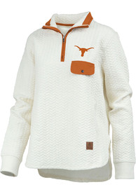 Texas Longhorns Womens Caribou 1/4 Zip Pullover - Ivory