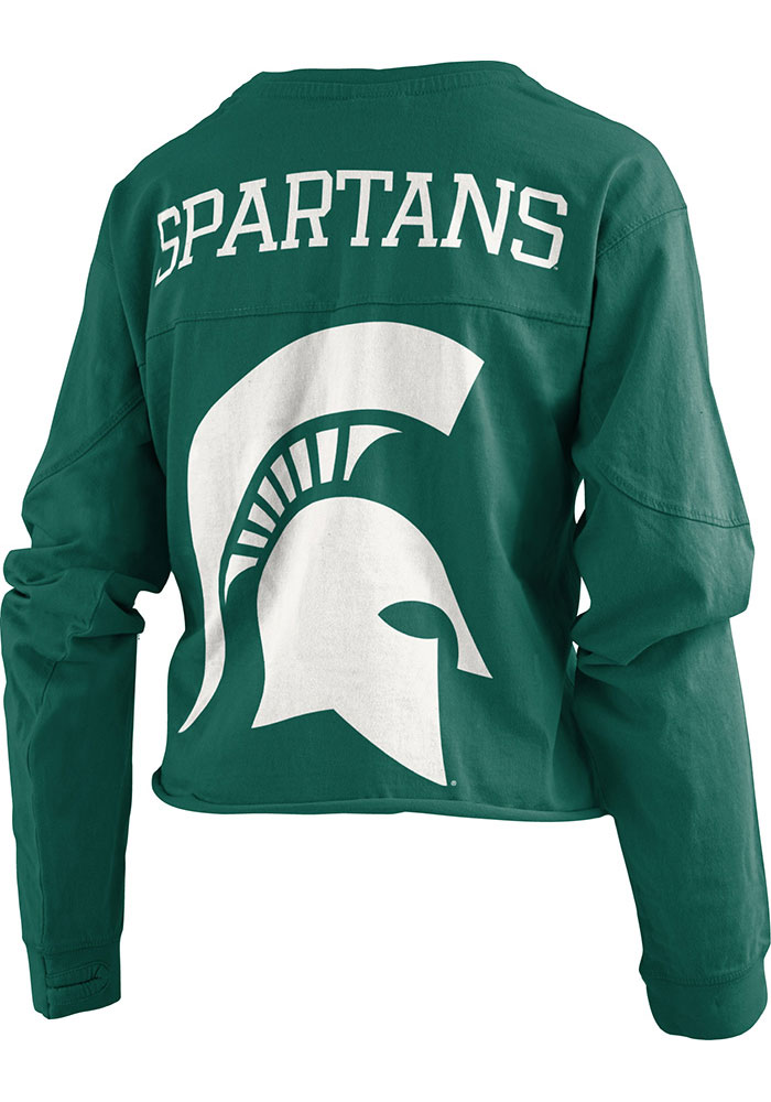 Michigan State Spartans Womens Green Fight Song LS Tee - Image 1