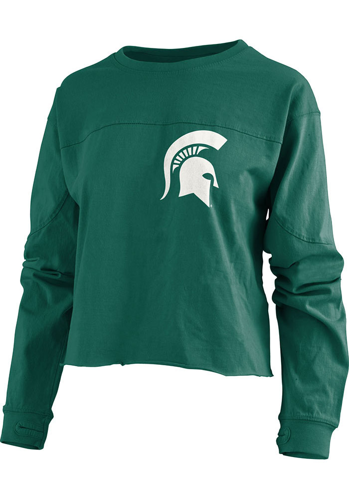 Michigan State Spartans Womens Green Fight Song LS Tee - Image 2