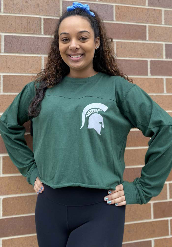 Michigan State Spartans Womens Green Fight Song LS Tee - Image 3