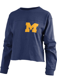 Michigan Wolverines Womens Fight Song Navy Blue LS Tee