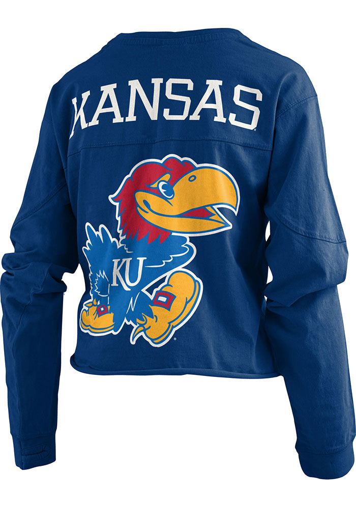 Kansas Jayhawks Womens Fight Song Navy Blue LS Tee