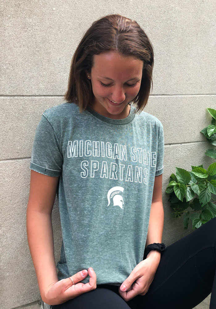 Michigan State Spartans Womens Green Vintage Short Sleeve T-Shirt - Image 2