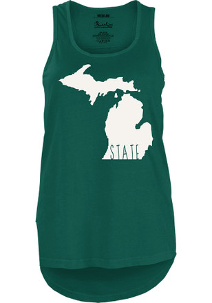 Michigan State Spartans Womens Green Crafty State Tank Top