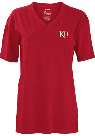 Kansas Jayhawks Womens Red Medallion Unisex Tee