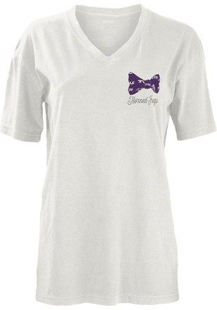TCU Horned Frogs Womens White Preppy State Bowtie Unisex Tee