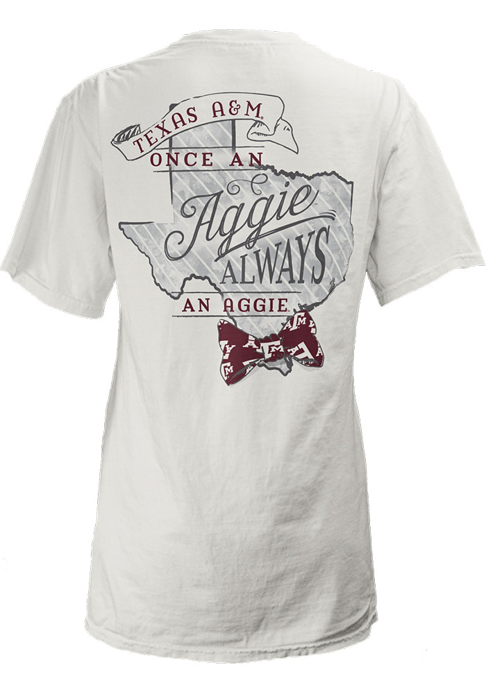 Texas A&M Aggies Womens White Preppy State Bowtie Short Sleeve Unisex Tee - Image 2