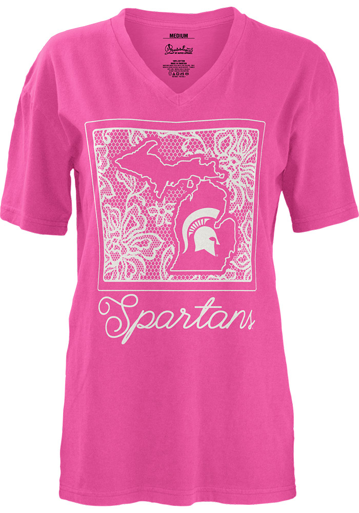 Michigan State Spartans Juniors Pink State Crochet Short Sleeve Unisex Tee - Image 1