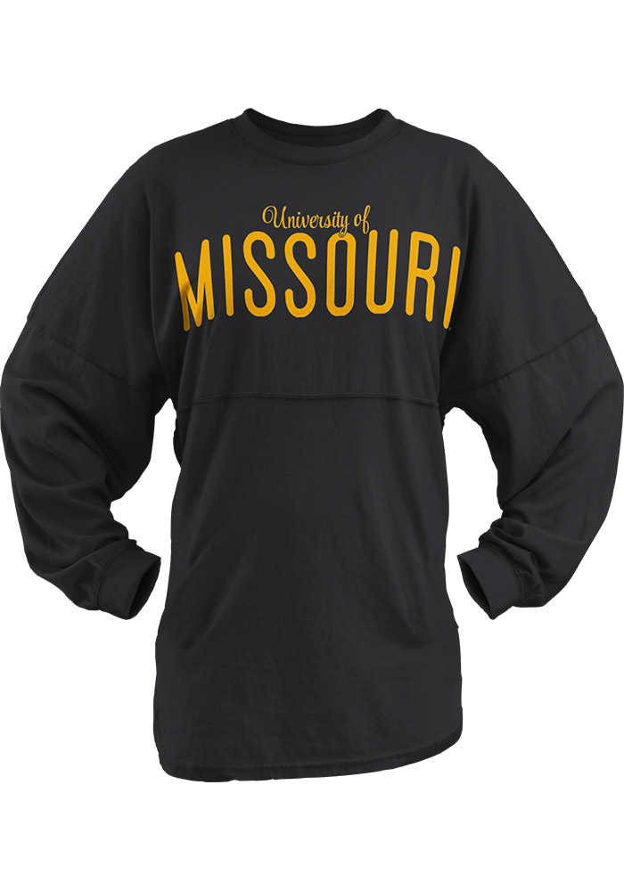Missouri Tigers Juniors Black University Script LS Tee, Black, 100% COTTON, Size L